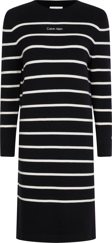 Calvin Klein tricotjurk STRIPE KNIT LOGO DRESS goedkoop op otto.nl kopen