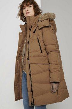 tom tailor winterjack volumineuze jas met imitatiebontkraag bruin