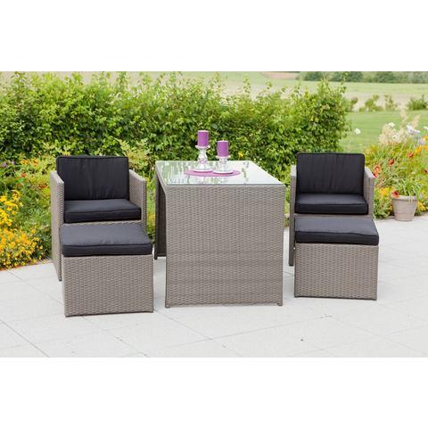MERXX Tuinmeubelset Merano 2 fauteuils, 2 hockers, tafel 128x70 cm, polyrotan (11 delig) online kopen