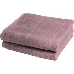 fleuresse handdoeken 2828 hoogwaardig en in unikleur (2 stuks) roze