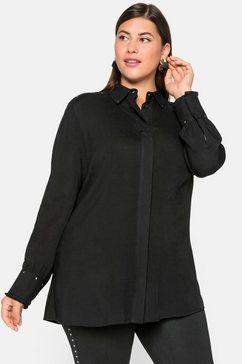 sheego blouse met lange mouwen zwart
