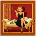 artland print op glas pin-up glamour girl (1 stuk) goud