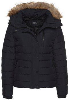 superdry gewatteerde jas »classic faux fur fuji jacket« blauw