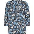 soyaconcept shirt met 3-4-mouwen sc-felicity aop321 met bloemmotief op donkere ondergrond blauw