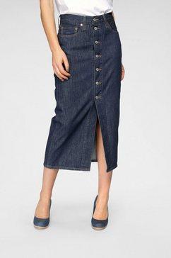 levi's jeansrok button front midi skirt voor met knoopsluiting - blauw