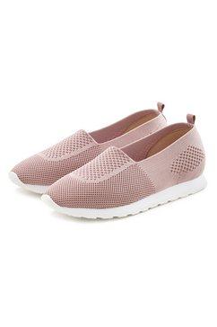 lascana slip-on sneakers van textiel roze