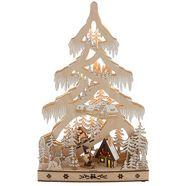led-boom sneeuwlandschap met hut en skirs, hoogte ca. 48 cm beige