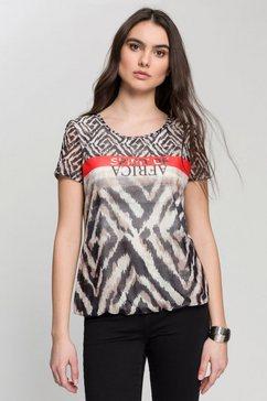 gerry weber shirt met ronde hals met animal-design met mix van motieven beige