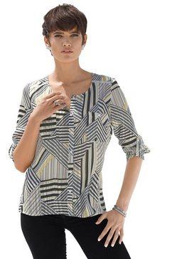 creation l blouse met buitengewoon, grafisch dessin zwart