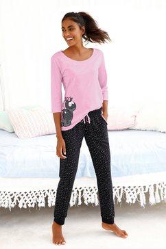 nici pyjama met eenhoorn-print en gestippelde pyjamabroek paars