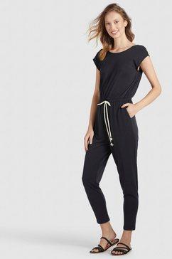 khujo jumpsuit ramone met contrastkleurige bindstrik in de taille zwart