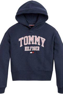 tommy hilfiger hoodie essential varsity hoodie in kort model blauw