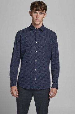 jack  jones overhemd met lange mouwen »plain poplin shirt« blauw