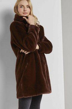 tom tailor jack van imitatiebont »weicher faux-fur mantel« bruin