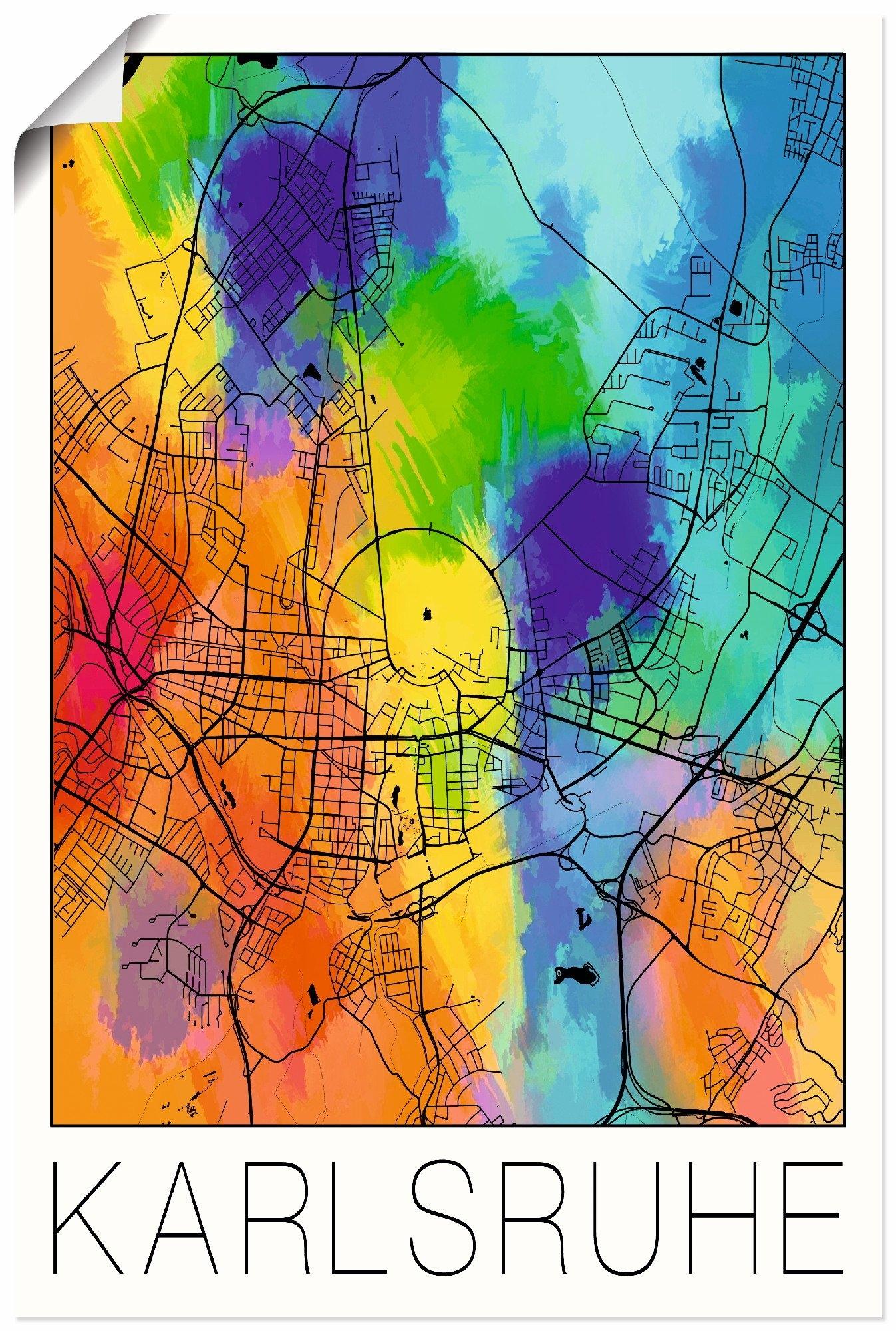 Artland artprint Retro kaart Karlsruhe aquarel in vele afmetingen & productsoorten - artprint van aluminium / artprint voor buiten, artprint op linnen, poster, muursticker / wandfolie ook geschikt voor de badkamer (1 stuk) online kopen op otto.nl