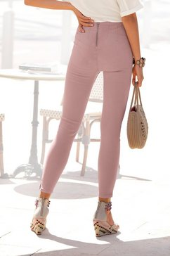 lascana jeggings met ritssluiting achter roze