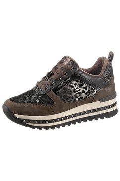mustang shoes plateausneakers met sierritssluiting bruin