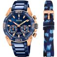 festina chronograaf chrono bike 2021 - special edition connected, f20549-1 (set, 2-delig, met wisselband) blauw