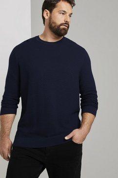 tom tailor men plus trui met ronde hals »strukturierter pullover aus baumwolle« blauw