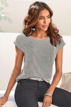 vivance t-shirt met zilverkleurige glitterprint grijs
