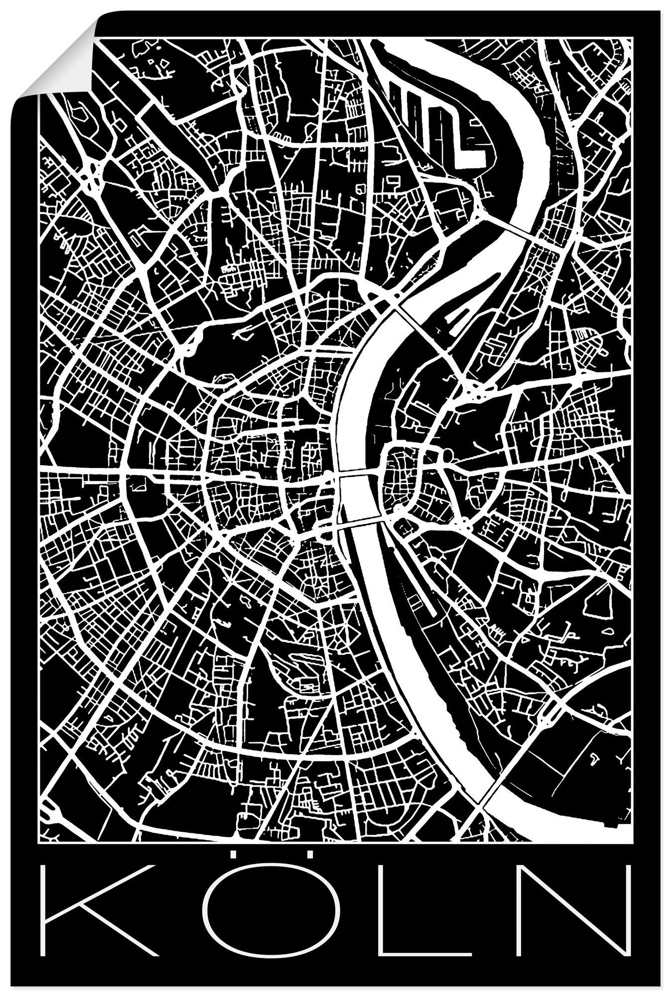 Artland artprint Retro kaart Keulen Duitsland zwart in vele afmetingen & productsoorten - artprint van aluminium / artprint voor buiten, artprint op linnen, poster, muursticker / wandfolie ook geschikt voor de badkamer (1 stuk) bij OTTO online kopen