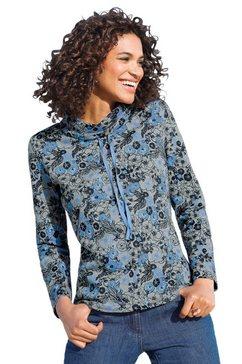 classic basics sweatshirt met speels bloemdessin blauw