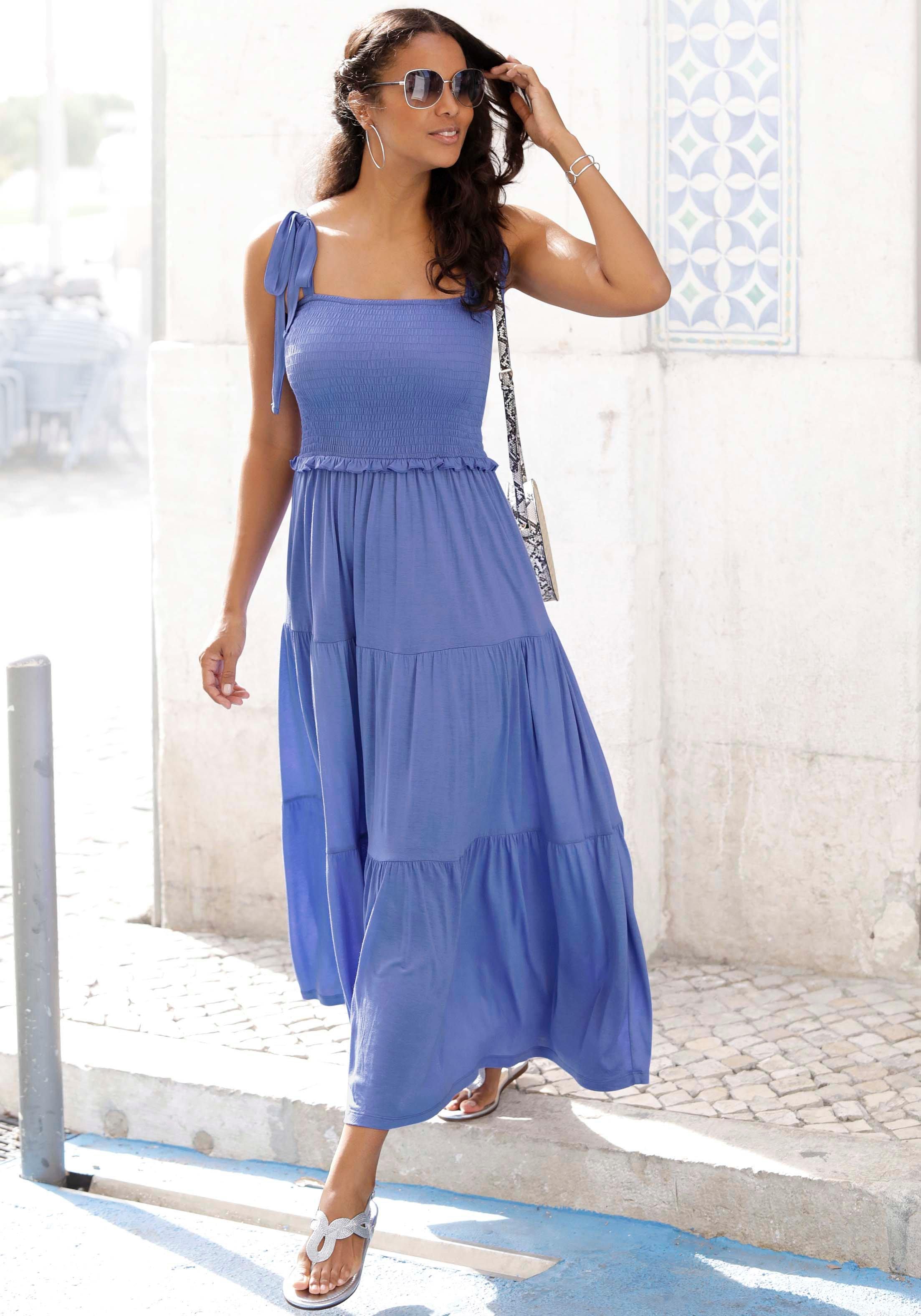 Lascana maxi-jurk met breed gesmokt deel nu online kopen bij OTTO