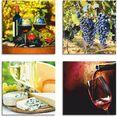 artland artprint op linnen glazen met wijn, druiven, kaas (4 stuks) rood