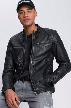 bruno banani leren jack in biker-look zwart