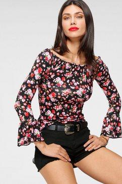 melrose shirt met carmenhals zwart