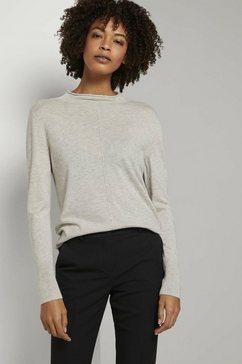 tom tailor mine to five trui met staande kraag fijne gebreide trui met opstaande kraag grijs