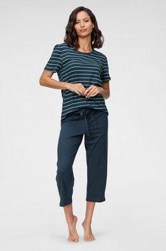 schiesser capripyjama met gestreepte top blauw