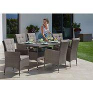 konifera tuinmeubelset »milan« 19-delig, 6 fauteuils, tafel 150x80 cm, poly-rotan grijs