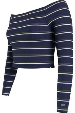 tommy jeans shirt met carmenhals met all-over streepdessin blauw