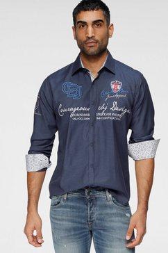 cipo  baxx overhemd met lange mouwen met luxueuze borduursels blauw