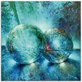 artland print op glas »zwei blaue murmeln_« blauw