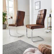 vrijdragende stoel lale (set van 2) overtrokken met robuuste microvezel, verchroomd metalen frame bruin
