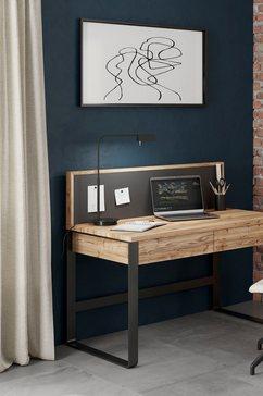 home affaire bureau imst van massief hout met magneetpaneel beige