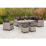 merxx tuinmeubelset palma hoekbank, fauteuil, 2 hockers, tafel, met kussen (5 stuks) bruin