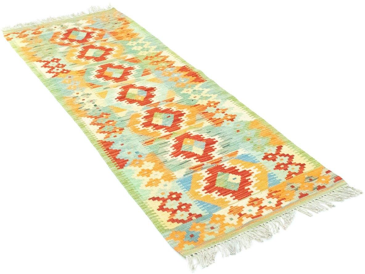 morgenland wollen kleed Kelim Afghan Teppich handgewebt grün Laagpolig bij OTTO online kopen