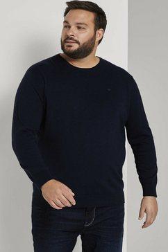 tom tailor men plus gebreide trui »basic pullover mit logo-stickerei« blauw