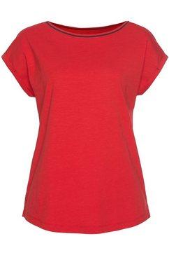 esprit t-shirt met contrastkleurige paspel bij de hals rood