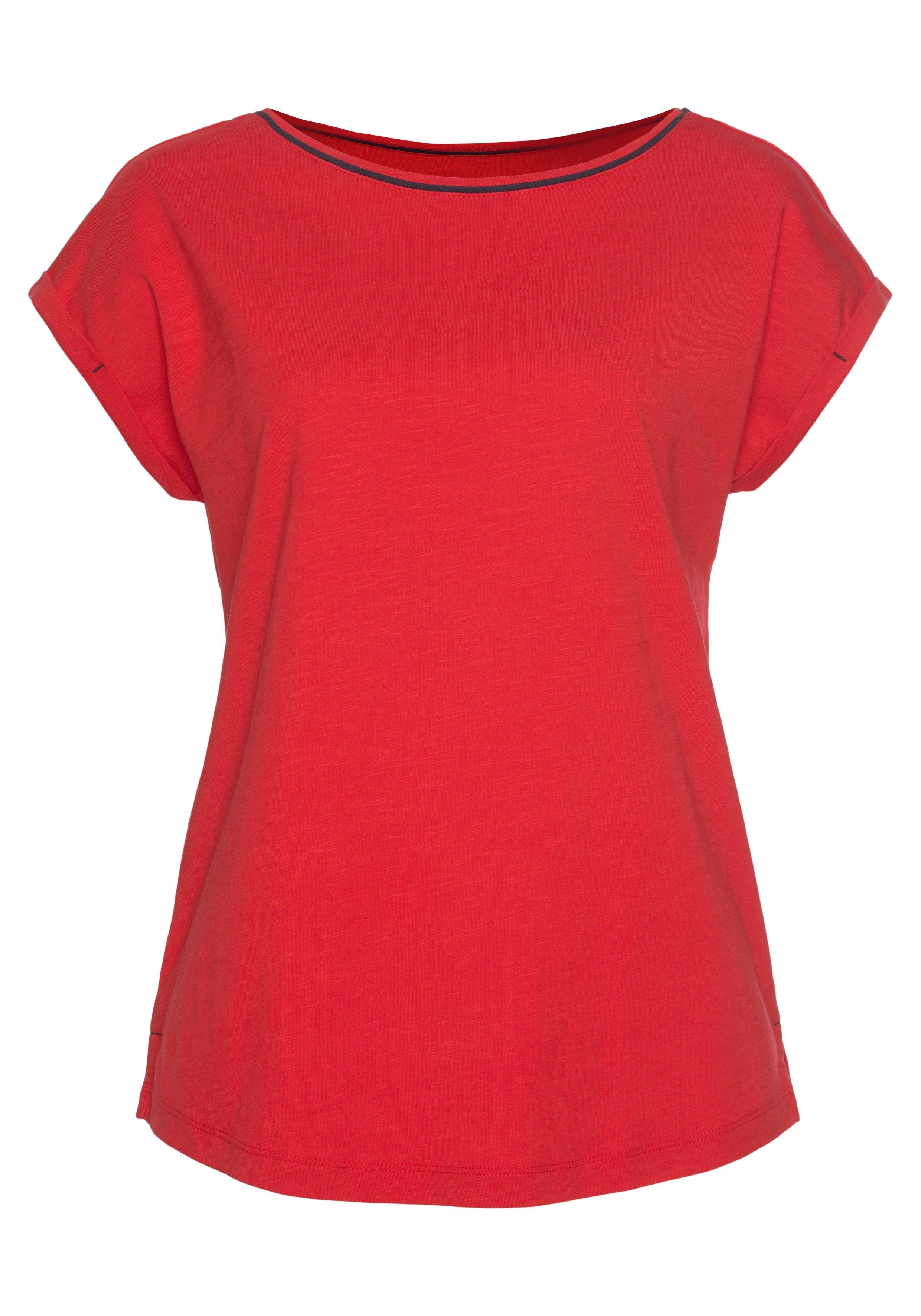 Esprit T-shirt met contrastkleurige paspel bij de hals nu online kopen bij OTTO