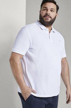 tom tailor men plus poloshirt »poloshirt mit logo-stickerei« wit