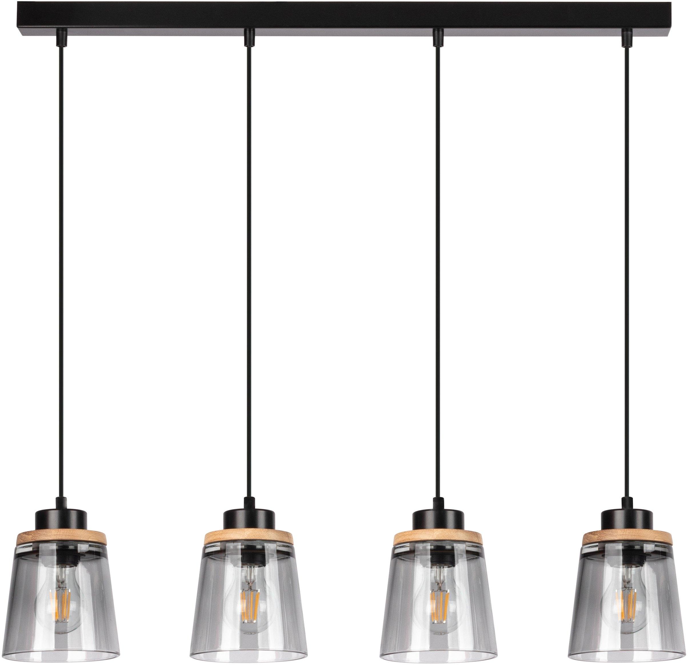 Home affaire hanglamp Warnemünde Kap van rookglas, met decor van eikenhout, LM E27/exclusief, met FSC®-certificaat, duurzaam gemaakt in Europa nu online bestellen