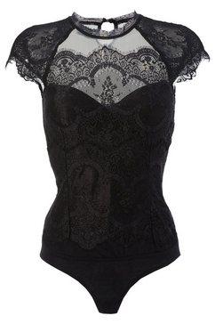 marjo shirtbody van fijne tule en kanten beleg zwart
