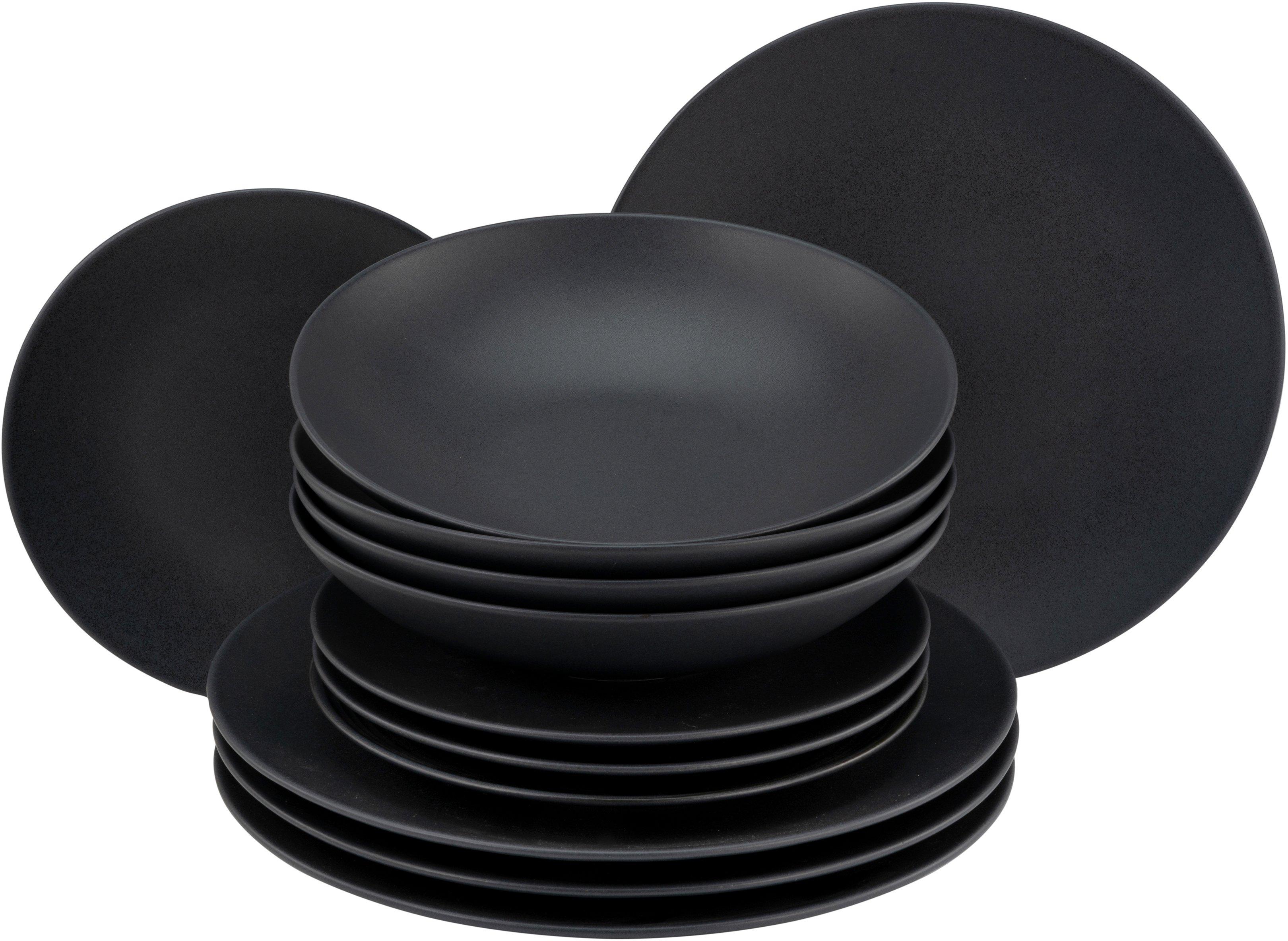 CreaTable eetservies Soft Touch Black halfglans glazuur (set, 12-delig) in de webshop van OTTO kopen