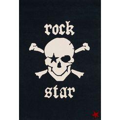 rock star baby vloerkleed voor de kinderkamer rs2385-1 met de hand gesneden relifpatroon, materiaal: 100% polyacryl, kinder- en tienerkamer zwart