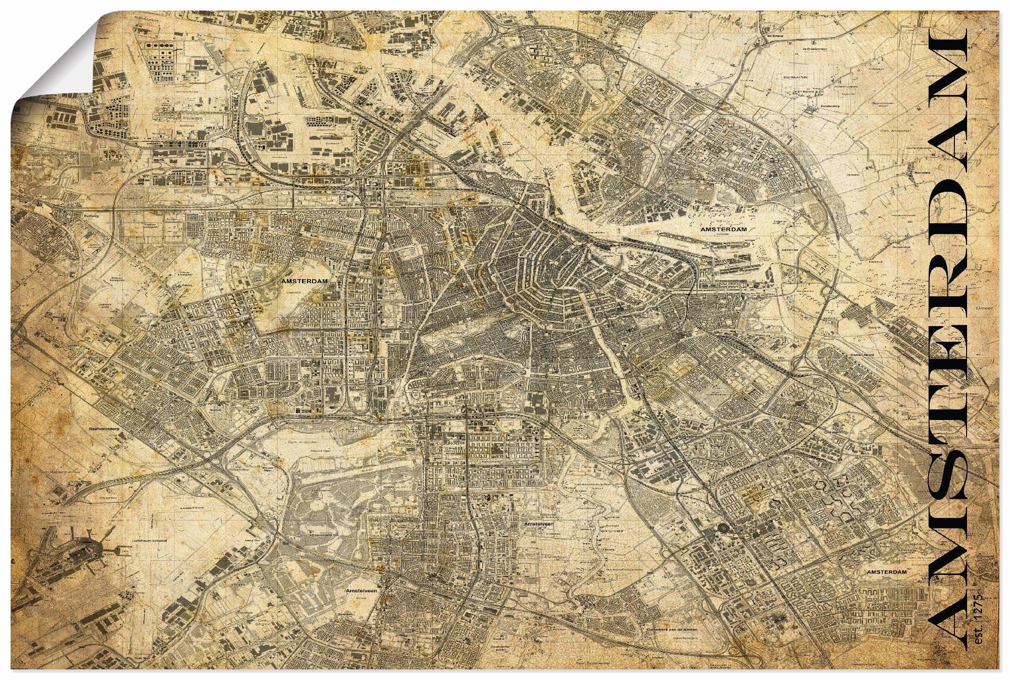 Artland artprint Amsterdam kaart straten kaart Sepia in vele afmetingen & productsoorten - artprint van aluminium / artprint voor buiten, artprint op linnen, poster, muursticker / wandfolie ook geschikt voor de badkamer (1 stuk) voordelig en veilig online kopen