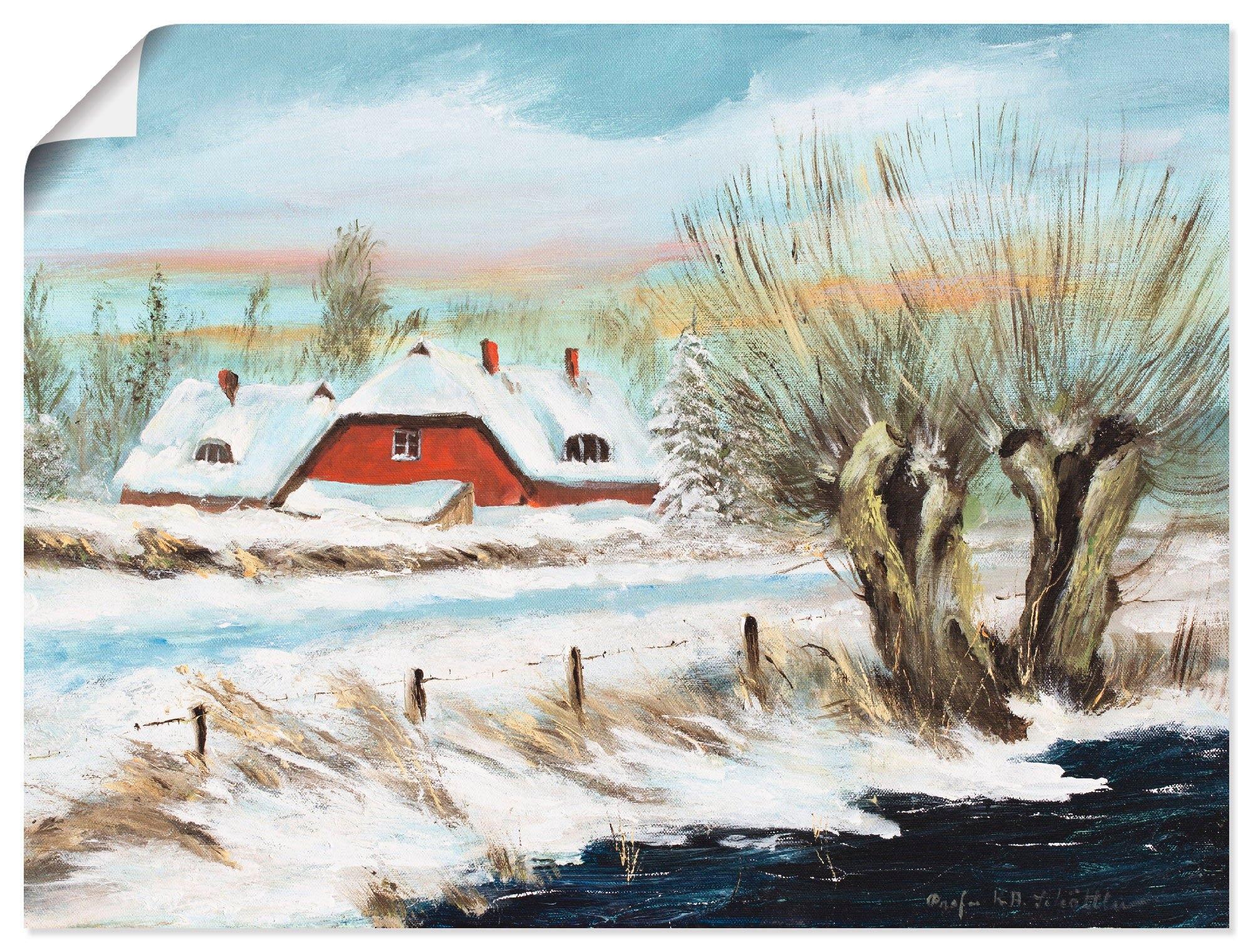 Artland artprint Rood huis in de sneeuw in vele afmetingen & productsoorten -artprint op linnen, poster, muursticker / wandfolie ook geschikt voor de badkamer (1 stuk) goedkoop op otto.nl kopen